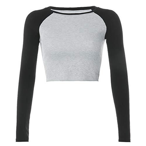 Karrychen - Camiseta raglán de Manga Larga con Bloques de Color para Mujer, Cuello Redondo, Acanalado, Camiseta Corta básica básica, Gris # S