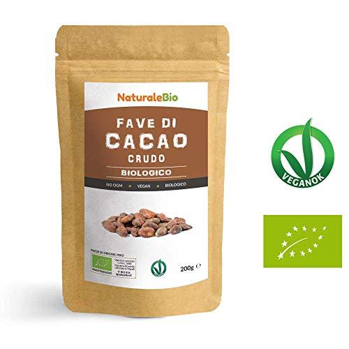 Fave di Cacao Crudo Biologico da 200g. 100% Bio, Naturale e Puro. Prodotto in Perù dalla Pianta Theobroma Cacao. Superfood Ricco di Antiossidanti, Minerali e Vitamine. NaturaleBio