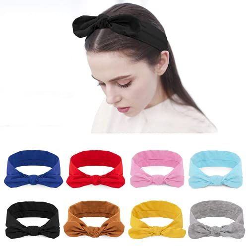 HBselect Turbantes Pelo algodón 8 Pcs Para Mujer Chica Multicolor Diademas Elasticas Pelo Cintas Para El Pelo Accesorios Pelo