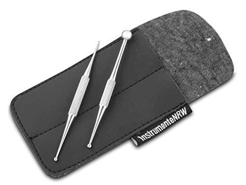 Mini Massage Stab Akupressurstifte Narbenstick Punktsucher SET 1/2 mm und 3/7 mm Stäbchen Stab 8 cm mit Aufbewahrungsetui zum Schutz vor Schmutz und Staub