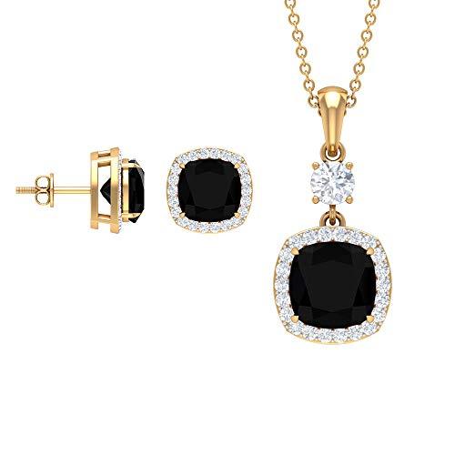 Pendientes con colgante de ónix negro de 7,21 quilates para mujer, colgantes con forma de cojín, aretes de halo de diamantes, collares antiguos de gota (calidad AAA)