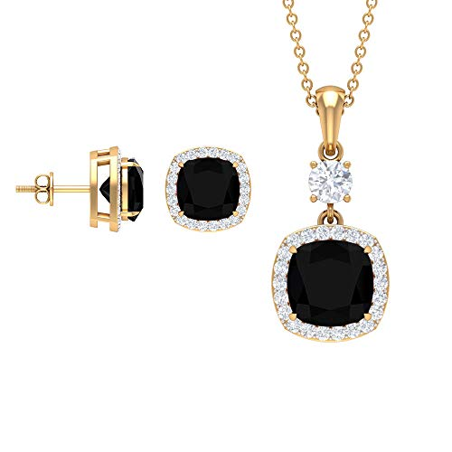 Rosec Jewels 18 quilates oro amarillo cojín Round Brilliant Black Moissanite Ónix negro