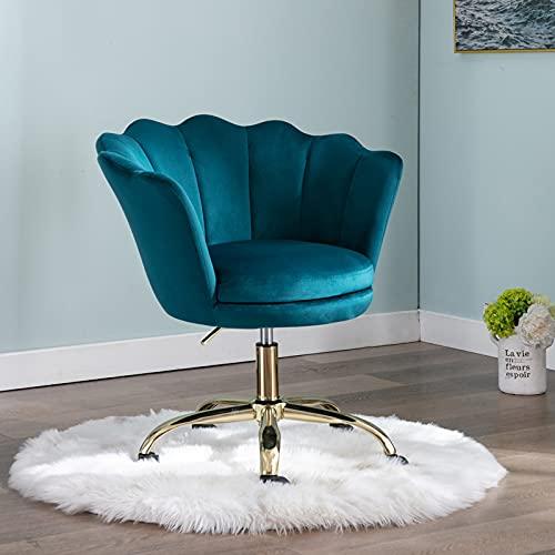 Wahson Bürostuhl / Drehstuhl, Samt, höhenverstellbar, mit goldfarbenem Sockel, Schreibtischstuhl für Schlafzimmer/Schminktisch (Blaugrün)