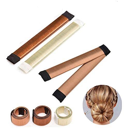 3 Stück Donut Hair Bun Maker, Magic Twist Donut French Band für Damen DIY Hairstyle Tools (braun, hellbraun, beige)