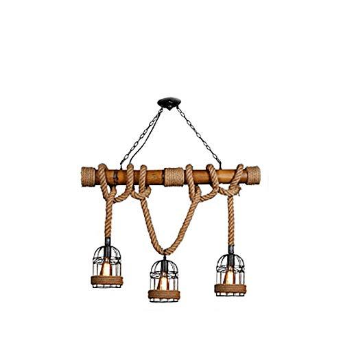 E27 retro kroonluchter hout kunst henneptouw hanglamp kunst vintage industriële hanglamp 3 vlammige hanglamp creatieve hanglamp voor eetkamer eettafel keukeneiland hanger lamp loft licht