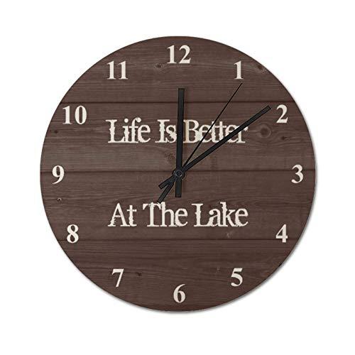 Reloj de pared silencioso de 30 x 30 cm, con texto en inglés 'Better Life In Cereal Lake Round Relojs, para casa, oficina, aula, escuela, fácil de leer.