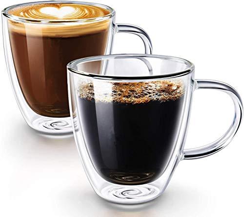 ティーカップ、コーヒーカップ、コースター付きの2層断熱ガラスコーヒーカップ、ハンドル付きガラス製品カプチーノコーヒーカップ、2個セット、父の日ギフト