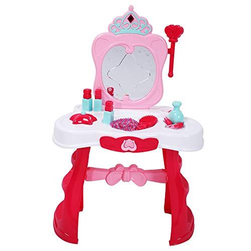 Cocoarm Make-uptafel met licht en klei, accessoire voor meisjes, speelset met glamourspiegel, 2-5 jaar oud meisjesspeelgoed