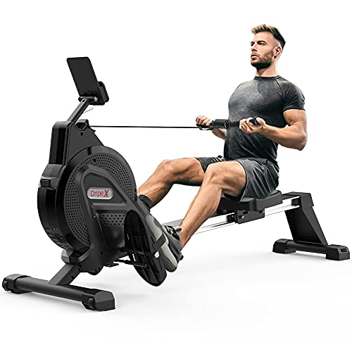 Dripex Magnetic Rowing Machine (2021 Version) for Home Use Rameur for Home Gym & Cardio Training Silent Indoor Rower with Aluminum Sliding Rail, 16 Adjustable Resistance Level & LCD Monitor (Black)