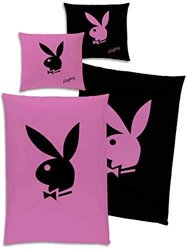 Playboy Wende-Bettwäsche Bunny Pink / Schwarz 135 x 200 cm + 80 x 80 cm - 100% Baumwolle Linon / Renforcé Bettbezug Hase classic Logo Playmates Lifestyle Magazin deutsche Größe mit Reißverschluss