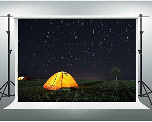HD 7X5ft Su r Night Backdrop Meteor Shower Tent Outdoor Camping Photography Background for Themed Party You Tube Backdrop Photo Studio Shooting Props PGGE179