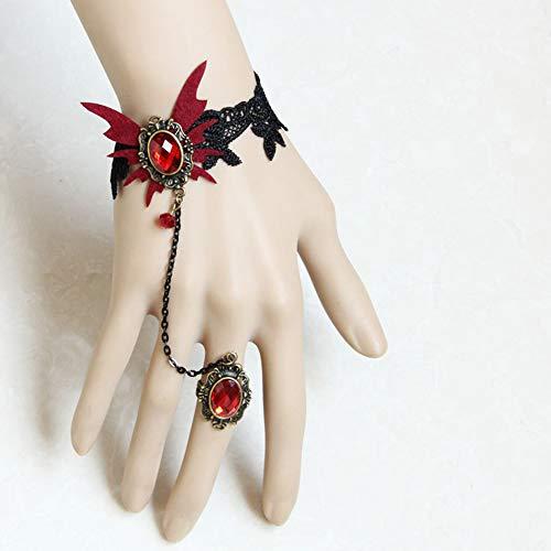 MLSJM Vrouwen Armband, Gotische Retro Kant Slave Vampier Armbanden met Vinger Ring Set, Vlinder Polsband,voor Halloween Kostuum Party