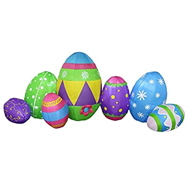 8 Foot Long Inflatable Party Cute Colorful Seven Easter Eggs Hunt Fun Patch - Yard Blow Up Decoration