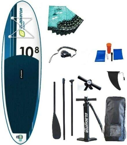 D7 Gladiator Lite 10'8 SUP Stand-Up-Paddle-Board – Premium-Paket inklusive Paddel, Tasche, Pumpe...