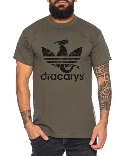 Dracarys - Camiseta de Hombre Targaryen Thrones Game of Stark Lannister Baratheon Daenerys Khaleesi TV BLU-Ray DVD, Gre2:Large, Farbe2:Caqui