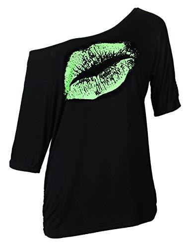 Smile Fish Damen Casual Sternchen Lippen drucken One-Shoulder T-Shirt Oversize 80er Pullover Tops (XXX-Large, Schwarz-Grün)