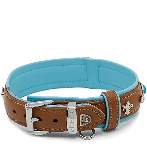 Collar de Cuero para Perro MICHUR Nizza marrón con Diamantes de imitación de Lirios y Piedras Azules Grandes en Varios tamaños