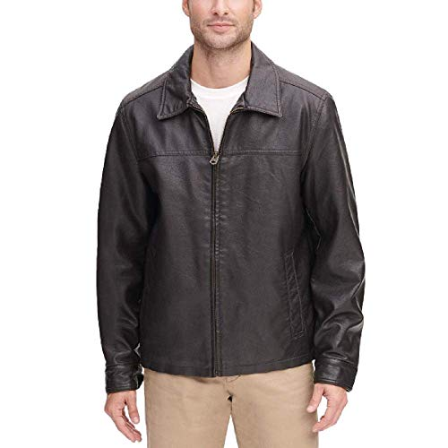 Dockers Men's Classic Faux Leather Jacket (Regular and Big and Tall Sizes), Dark Brown, S