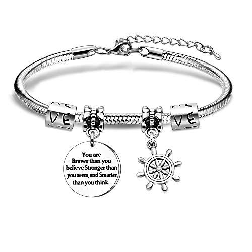 You Are Braver - Pulsera de plata ajustable con colgante de inspiración para hija, hijo, amigas, amante de la joyería