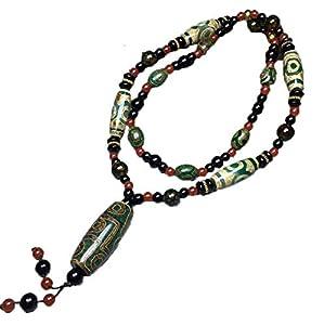 ZHIBO Halskette Tibet Achat Grün Dzi Perlen Halskette Schmuck