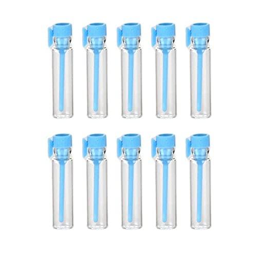 100 Piezas 1 ml Botellas de Muestra de Perfume de Vidrio vacías Frascos de Muestra Recargables con Tapas de Colores (Azul Claro)