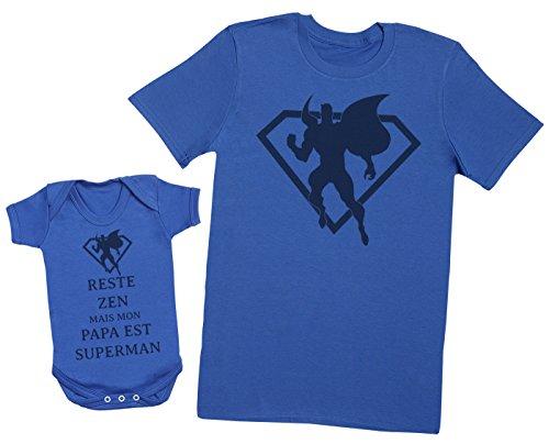 Reste Zen mais Mon Papa est Superman - Ensemble Père Bébé Cadeau - Hommes T-Shirt & Body bébé - Bleu - M & 6-12 Mois