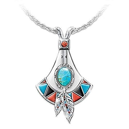 BEISUOSIBYW Co.,Ltd Collar de Piedra Azul con Colgante de Plumas en Forma...