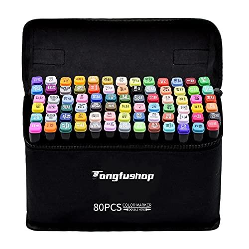 TongfuShop 80 Colores Marcadores, Marker Pen Set, Rotuladores con Puntas Dobles, para Estudiantes Juego de Rotuladores de Dibujo de Artista de Manga