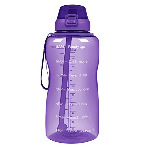 YIREN 1 Gallon (128oz) Motivational Water Bottle with Straw & Time Marker BPA Free Tritan Plastic Leak Proof Water Jug for Outdoor Sports Camping
