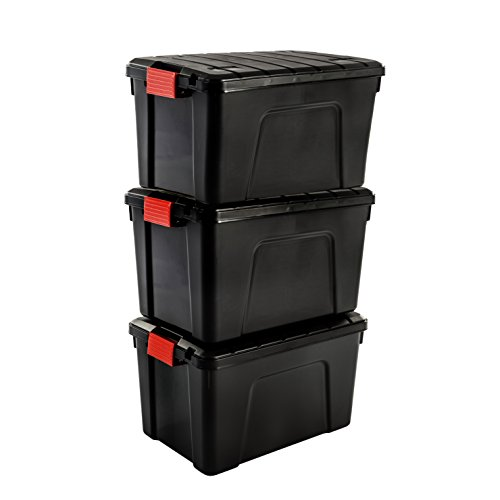 Iris Ohyama SIA-60 Store It All - Caja de Almacenamiento de Bricolaje Apilable, Plastico, 60L, Negro/Rojo, 59 x 39,5 x 35,5 cm, Lote de 3