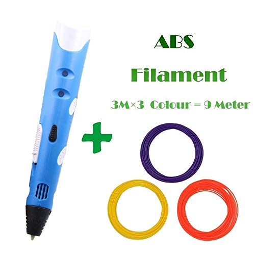 ZHQHYQHHX 3D Printing pen1.75mm ABS Smart 3D tekenpen + adapter Gratis gloeidraad Creative Gift For Kids Design Schilderij 3D Printer ZHQEUR (Color : Blue 9M filament, Size : Free)
