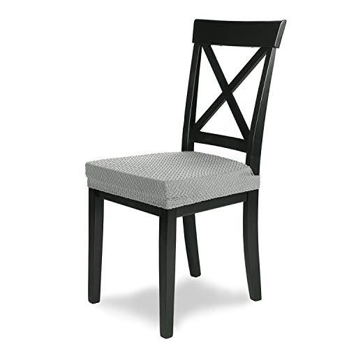 SCHEFFLER-Home Stretch Stuhlbezug Luna | 4er Set elastische Flanell Stuhlauflagen | Sitzbezug Esszimmerstuhl | Elegante Auflage für Stühle | Stuhlhussen Stretch aus Samt mit Gummiband