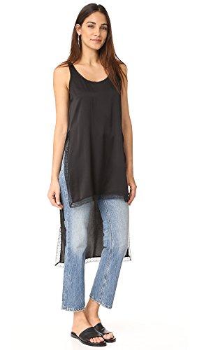 DKNY Women's Shirt with Lace Trim, Black, Petite
