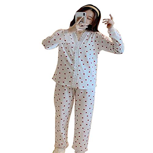 Pijamas con Cuello en V de Encaje Otoño Invierno Conjunto de Pijamas de Manga Larga de algodón Completo para Mujer Conjunto de Ropa de Dormir Suelta para Mujeres Adultas Conjunto de Pijama Suave