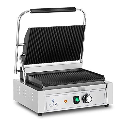 Royal Catering Parrilla de Contacto Grill RCPKG-2200-R (Potencia: 2200 W, Superfice ondulada, Rango de temperatura: 50 - 300 °C)