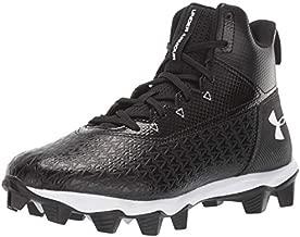 Under Armour Boys' Hammer Mid RM Jr. Football Shoe, Black (001)/White, 6 M US Big Kid