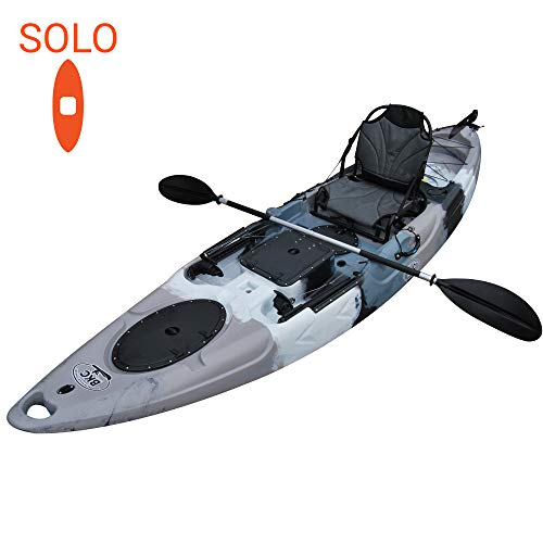 BKC RA220 11' 6' Solo Sit-On-Top Kayak w/Upright Back Support Aluminum Frame Seat - Includes Paddle, Foot Rudder, and Rod Holders - Fishing & Angler's Choice