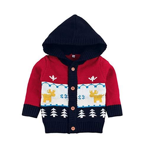 QIQI Maglione di Maglia dei Bambini, Natale Incappucciato Cartoon Maglia Warm Jacket Autunno e Inverno Ragazzi e Ragazze Costumi