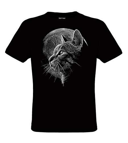 DarkArt-Designs Cat Moon - Katze mit Vollmond T-Shirt für Kinder und Erwachsene - Tiermotiv Shirt Haustier Wildtier Fun Party&Freizeit Lifestyle Regular fit, Größe XXL, schwarz