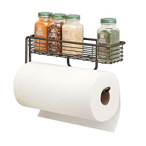 mDesign Küchenrollenhalter – hochwertiger Papierrollenhalter mit integriertem Gewürzregal aus Metall – praktischer Küchenhelfer – bronzefarben