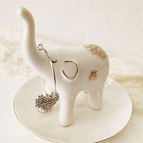 Soporte para anillos, elefantes de cerámica, moderno, organizador de joyas, ideal para anillos, pendientes y pulseras