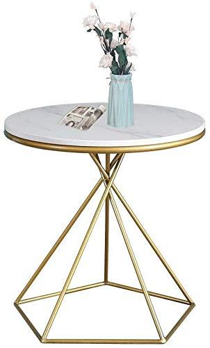 Eindtafels Nordic White Marble Ronde Kleine Koffie Sofa Side End nachtkastje, Gouden Smeedijzeren Geometrische Hoektafel, Geschikt voor Woonkamer Slaapbank Slaapkamer Kleine Ruimte