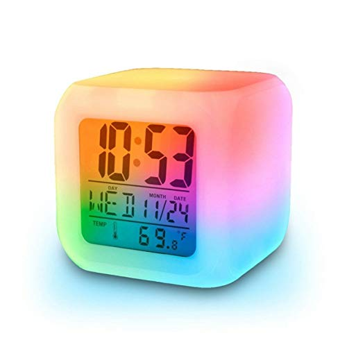 Magic Digital LED Alarm Clock, Calendar, Timer Watch, Temperature Light Operated with Clock Automatic 7 Color Changing for Bedroom, Heavy Sleepers, Students (White)