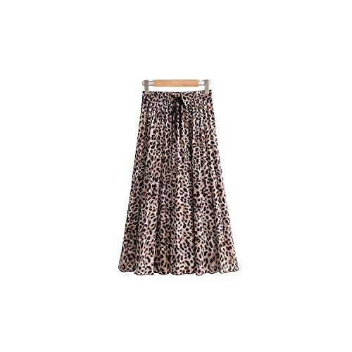 Vrouwen Stijlvolle Luipaard Print Plissé Rok Tie Elastische Taille Casual Mid Calf Rokken