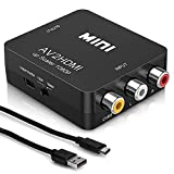Rca to HDMI - AV to 1080p HDMI Converter - Mini RCA Composite CVBS Audio Video Adapter - Supports PAL/NTSC Compatible for PC / TV / PS3 / Laptop / Xbox / VHS / Camera / STB / Wii / Wii U/ Blue-Ray DVD