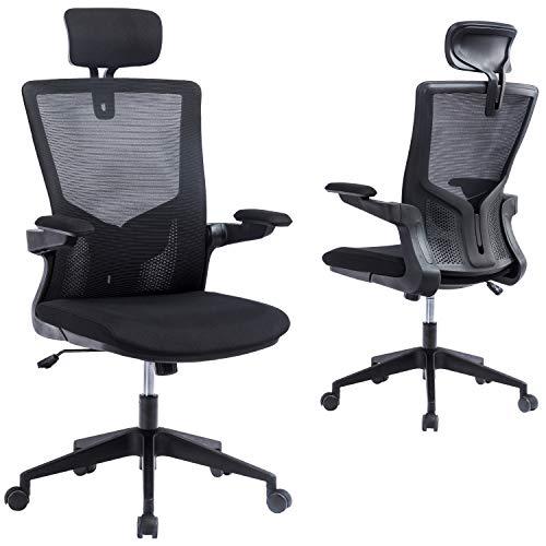 KCREAM Ergonomischer Schreibtischstuhl mit mittellehne, Netzstoff, Bürostuhl, Computerstuhl, Drehstuhl mit hochklappbaren Armlehnen und verstellbarer Kopfstütze (schwarz)
