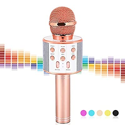 Gifts for 5 6 7 8 9 10 11 12 Year Old Girls, VAPCUFF Singing Microphone Machine Gifts for Girls Age 3-12 Fun Kids Birthday Gifts Age 4-12 Girl - Champagne