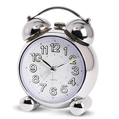 LX-Love clock Mechanische Klingelmode des kreativen Kursteilnehmers am Bett netten stille Wecker der Persönlichkeit (Color : Silver)