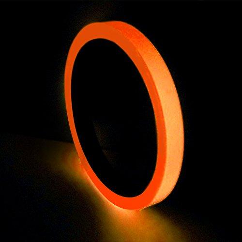 Leuchtendes Klebeband, Bühnenwarnband, abnehmbares PVC, leuchtet im Dunkeln, Leuchtband, fluoreszierendes Licht, zur Aufbewahrung von St. Patricks Day, Zubehör, Dekorationen (2 cm, Orange)