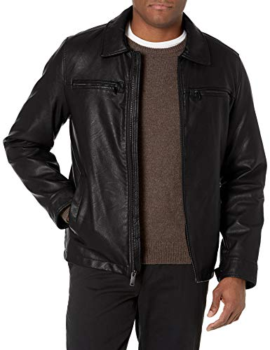 Dockers Men's Faux Leather Jacket (Standard and Big & Tall), Black w. Chest Zip, Medium